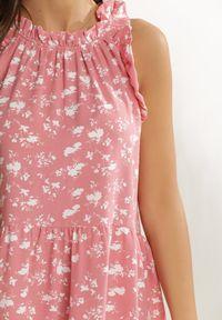 Renee - Różowa Sukienka Nauticiane. Typ kołnierza: dekolt halter. Kolor: różowy. Wzór: kwiaty, aplikacja. Długość: mini