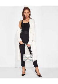 SIMONA CORSELLINI - Czarne spodnie z satynowym pasem. Kolor: czarny. Materiał: satyna. Wzór: aplikacja. Styl: elegancki, klasyczny