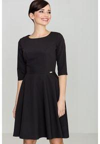 e-margeritka - Klasyczna sukienka przed kolano czarna - l. Kolor: czarny. Materiał: wiskoza, poliester, materiał. Typ sukienki: rozkloszowane. Styl: klasyczny