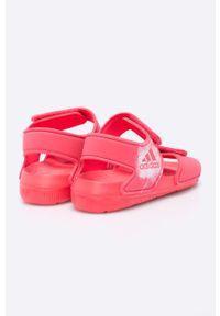 Różowe sandały adidas Performance na obcasie, na rzepy #5