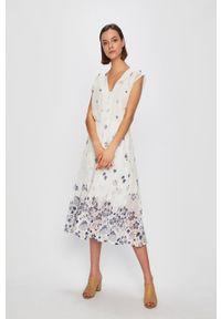 Pepe Jeans - Sukienka Candela. Kolor: biały. Typ sukienki: rozkloszowane