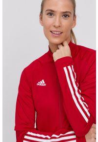 adidas Performance - Bluza performance. Okazja: na co dzień. Kolor: czerwony. Materiał: tkanina. Długość rękawa: raglanowy rękaw. Wzór: gładki. Styl: casual