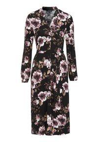 Czarna sukienka Happy Holly z długim rękawem, w kwiaty