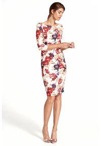 e-margeritka - Sukienka ołówkowa w kwiaty - s. Okazja: na imprezę. Typ kołnierza: typu klepsydra. Materiał: materiał, poliester. Wzór: kwiaty. Typ sukienki: ołówkowe. Styl: elegancki