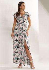 Renee - Różowa Sukienka Phereia. Typ kołnierza: kołnierz z falbankami. Kolor: różowy. Materiał: tkanina, materiał, guma. Wzór: kwiaty, gładki. Typ sukienki: kopertowe. Długość: maxi