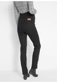 Spodnie ciążowe wyszczuplające, proste nogawki bonprix czarny. Kolekcja: moda ciążowa. Kolor: czarny