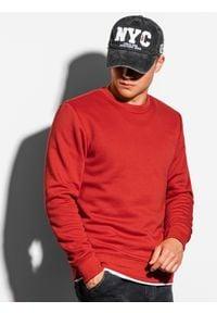 Ombre Clothing - Bluza męska bez kaptura B978 - czerwona - XXL. Okazja: na co dzień. Typ kołnierza: bez kaptura. Kolor: czerwony. Materiał: poliester, materiał, bawełna. Styl: casual, klasyczny