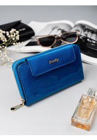 ROVICKY - Portfel damski skórzany lakierowany niebieski RFID Rovicky. Kolor: niebieski. Materiał: skóra