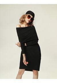 Sukienka mini oversize, rockowa, z kominem