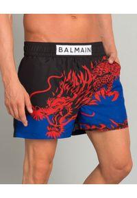 Balmain - BALMAIN - Kąpielówki ze smokiem. Kolor: czarny. Materiał: materiał. Wzór: aplikacja, kolorowy