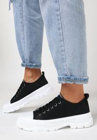 Born2be - Czarne Trampki Aphophila. Wysokość cholewki: przed kostkę. Nosek buta: okrągły. Kolor: czarny. Materiał: bawełna, jeans, materiał, guma. Szerokość cholewki: normalna. Obcas: na obcasie