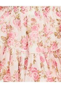 LOVE SHACK FANCY - Sukienka z jedwabiu Popover. Okazja: na ślub cywilny, na wesele, na spacer. Kolor: beżowy. Materiał: jedwab. Wzór: aplikacja, kwiaty. Sezon: lato. Długość: mini