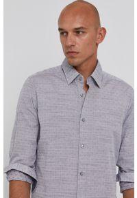 BOSS - Boss - Koszula bawełniana. Typ kołnierza: kołnierzyk klasyczny. Kolor: szary. Materiał: bawełna. Długość rękawa: długi rękaw. Długość: długie. Styl: klasyczny