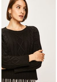 Czarny sweter ANSWEAR z okrągłym kołnierzem