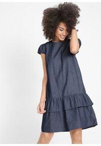 Sukienka dżinsowa z falbaną bonprix ciemnoniebieski. Kolor: niebieski. Długość: mini
