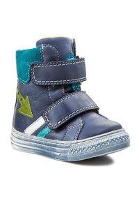 Niebieskie buty zimowe Mido z cholewką, z cholewką przed kolano
