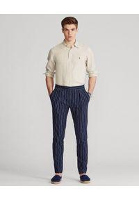 Ralph Lauren - RALPH LAUREN - Beżowa koszula z lnu Lightweight Slim Fit. Typ kołnierza: button down, polo. Kolor: beżowy. Materiał: len. Długość rękawa: długi rękaw. Długość: długie. Wzór: haft #5