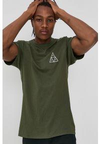 HUF - T-shirt. Okazja: na co dzień. Kolor: zielony. Materiał: dzianina. Wzór: nadruk. Styl: casual