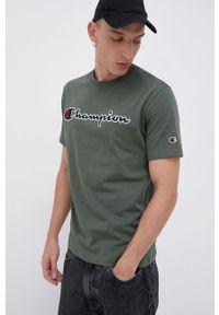 Champion - T-shirt bawełniany. Okazja: na co dzień. Kolor: zielony. Materiał: bawełna. Wzór: aplikacja. Styl: casual