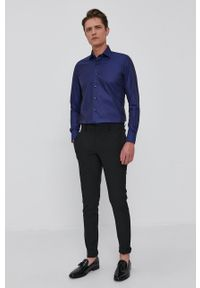 Emanuel Berg - Koszula bawełniana. Typ kołnierza: kołnierzyk włoski. Kolor: niebieski. Materiał: bawełna. Długość rękawa: długi rękaw. Długość: długie. Wzór: gładki