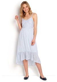Długa sukienka Happy Holly w paski, z falbankami, na ramiączkach