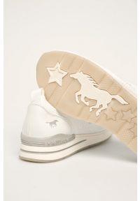 Białe buty sportowe Mustang z okrągłym noskiem, z cholewką
