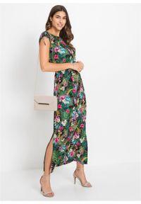 Zielona sukienka bonprix z krótkim rękawem, w kolorowe wzory, maxi, z dekoltem w łódkę