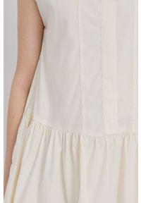 Samsoe & Samsoe - Samsoe Samsoe - Sukienka. Kolor: beżowy. Materiał: tkanina. Długość rękawa: krótki rękaw. Wzór: gładki. Typ sukienki: rozkloszowane #2