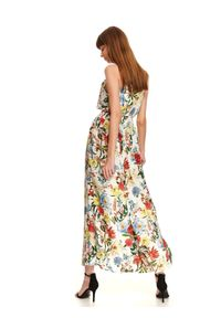 TOP SECRET - Długa sukienka w kwiatowy wzór. Okazja: na ślub cywilny, na wesele. Kolor: biały. Długość rękawa: na ramiączkach. Wzór: kwiaty. Typ sukienki: proste. Styl: elegancki. Długość: maxi