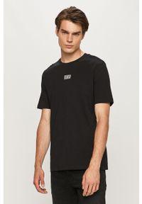 Czarny t-shirt Hugo z okrągłym kołnierzem, na co dzień
