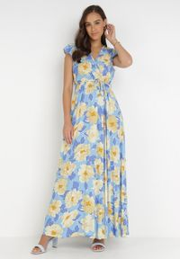 Born2be - Niebieska Sukienka Acsesi. Kolor: niebieski