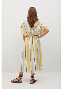 mango - Mango - Sukienka WES. Kolor: żółty. Materiał: włókno, tkanina. Długość rękawa: krótki rękaw. Typ sukienki: rozkloszowane