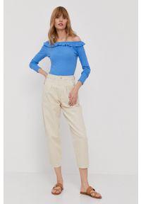 Pepe Jeans - Bluzka Colette. Typ kołnierza: dekolt hiszpanka. Kolor: niebieski