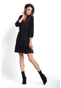 Czarna sukienka z falbanami IVON prosta, na co dzień, casualowa