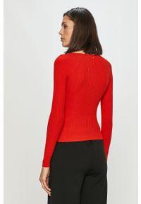 Czerwona bluzka z długim rękawem Silvian Heach klasyczna, na co dzień