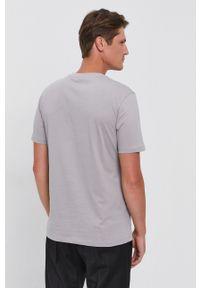Hugo - T-shirt bawełniany. Okazja: na co dzień. Kolor: szary. Materiał: bawełna. Wzór: nadruk. Styl: casual