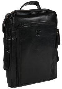 ALWAYS WILD - Płaski plecak męski czarny Always Wild 4058-S-PDM BLACK. Kolor: czarny. Materiał: skóra