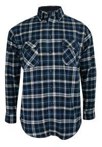 ForMax - Koszula Casualowa w Kratkę Granatowo-Białą, 100% Bawełna, Flanelowa, Slim, Długi Rękaw -FORMAX. Okazja: na co dzień. Kolor: niebieski. Materiał: bawełna. Długość rękawa: długi rękaw. Długość: długie. Wzór: kratka. Styl: casual