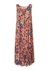 Born2be - Jasnobeżowa Sukienka Themilato. Kolor: beżowy. Długość rękawa: na ramiączkach. Wzór: kwiaty, aplikacja, paski, kolorowy. Sezon: lato. Typ sukienki: proste. Długość: maxi