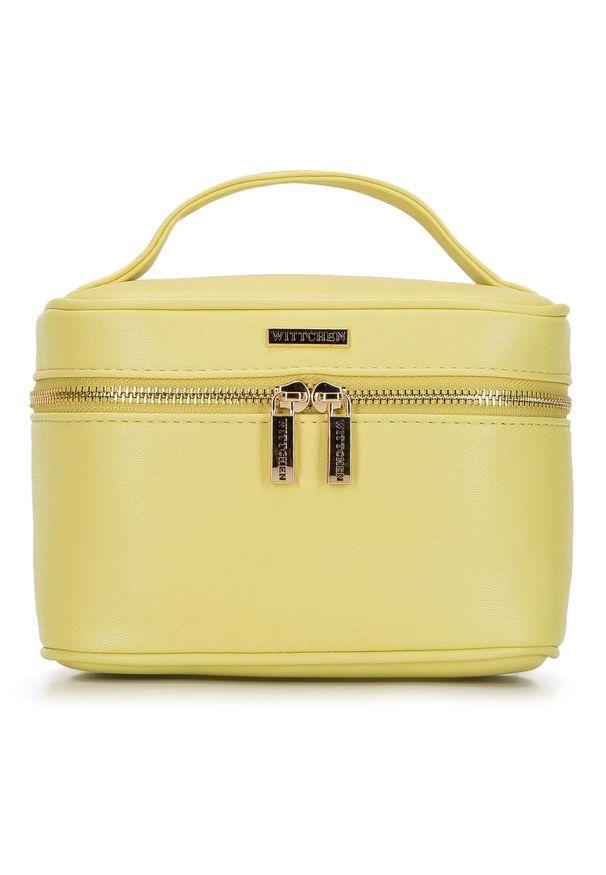 Wittchen - Damska kosmetyczka kuferek mała. Kolor: żółty. Materiał: skóra ekologiczna. Wzór: aplikacja, kolorowy