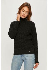 Czarny sweter Pinko na co dzień, długi, z długim rękawem, z golfem