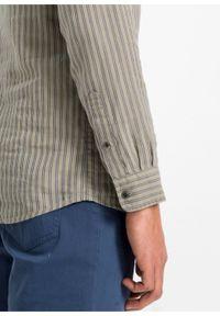 Koszula z długim rękawem, len z TENCEL ™ bonprix piaskowy-indygo w paski. Kolor: beżowy. Materiał: len. Długość rękawa: długi rękaw. Długość: długie. Wzór: paski