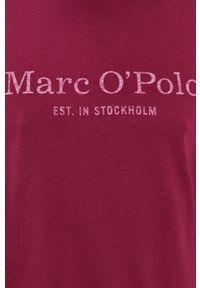 Marc O'Polo - Longsleeve. Okazja: na co dzień. Typ kołnierza: polo. Kolor: fioletowy. Materiał: bawełna, dzianina. Długość rękawa: długi rękaw. Wzór: nadruk. Styl: casual