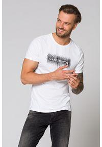 Biały t-shirt Lancerto na lato, z okrągłym kołnierzem, z nadrukiem