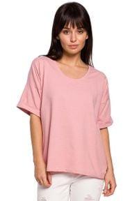 MOE - Różowa Oversizowa Bluzka Bawełniana. Kolor: różowy. Materiał: bawełna