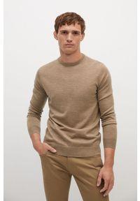 Brązowy sweter Mango Man z długim rękawem, na co dzień, casualowy, długi