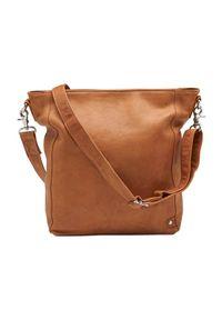 Brązowa torebka DEPECHE. w kolorowe wzory, na ramię