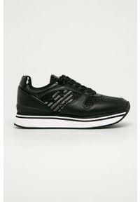 Czarne buty sportowe Emporio Armani z cholewką, na sznurówki