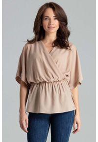Beżowa bluzka Katrus z kopertowym dekoltem