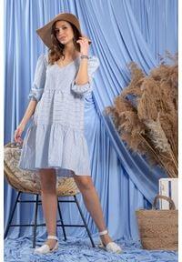 Fobya - Luźna Sukienka w Niebieskie Paski. Kolor: niebieski. Materiał: bawełna. Wzór: paski
